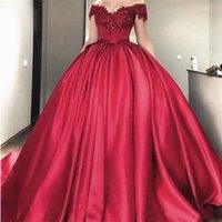 Off the Shoulder Lace Quinceanera Dress Appliques Burgundy Satin Prom Dresses Ball Gowns Corset Back Bridal Gowns vestidos de noiva