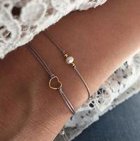 Faux Pearl Rope Pulseira de Ouro Love Heart Boho Braceletes Para Mulheres Cadeia Cadeia De Cadeia Definido Ajustável Acessórios de Jóias Frisadas, Frontes