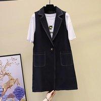 Womens Suits Bright Line Mid-length Suit Vest Coat Spring Autumn Korean Version Back Belt Is Thinner Ladies Jacket Women