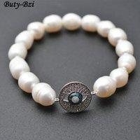 Pavé CZ et Abalone Shell Métal Pièce ronde Eye de monnaie Naturel Eau fraîche Perles Perles de perles Élastique Bracelets Party Bijoux Perles, Strands