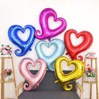 18 zoll Haken Herzform Aluminiumfolie Ballons Aufblasbare Hochzeitsdekoration Valentinstagtage Geburtstag Baby Shower Air Ballons