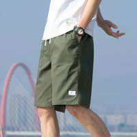 2021 spring and summer cotton drawstring washed Capris tooling shorts men's casual pants