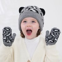 Children Hat And gloves Set Leopard Tiger Caps Gloves 2pcs Wool Girls Boys Knitting Hat Clothes cny2551
