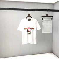 2021SS Primavera e verão Novo Algodão de Algodão de Alta Graia de Alta Grade de Manga Curta Rodada Pank Painel T-shirt Tamanho: M-L-XL-XXL-XXXL Cor: Preto Branco 414