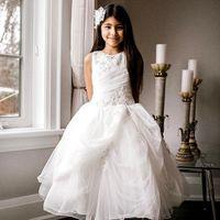 Girl's Dresses Beautiful Embroidery Flower Girl For Wedding O Neckline Elegant First Holy Communion Girls