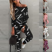 2021 Fashion Women Tracksuits Running Sport 2 Piece Suit Casual Outfits Suit Letter Printing Long Sleeve Clothing Sexy Jogging Sets
