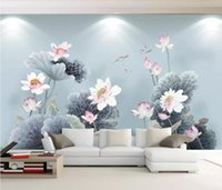 Wallpapers CJSIR Custom Wallpaper 3d Mural Chinese Style Pen Lotus Fish Background Wall Painting Papers Home Decoration Decors
