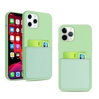 아이폰 12 미니 11 Pro x XR XS 최대 SE 6 7 8 플러스 Shockproof 커버 가방에 대한 액체 실리콘 신용 카드 홀더 지갑 전화 케이스