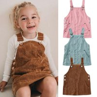 Girl's Dresses Baby Clothing Toddler Kids Girl Mini Retro Dress Strap Corduroy Suspenders Solid Ruffle Hem Sundress Clothes Outfit
