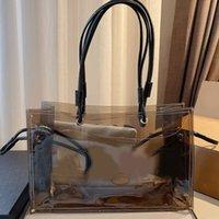 Şeffaf alışveriş çantası tote temizle çanta pvc jöle omuz çantaları moda mektup iç cep cüzdan bayan çanta
