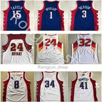 Otantik Dikişli Mitchell Ness Basketbol Formaları 2004 2007 Tüm Tracy Star 1 McGrady Vince 15 Carter Retro Allen 3 Iverson Jersey Adam Boyutu