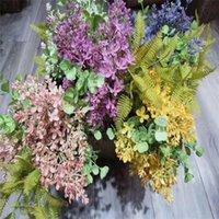 Decorative Flowers & Wreaths 1PCS Artificial Plastic Orchid Bouquet Fake Eucalyptus Branch DIY Home Garden Wedding Flower Arrangement Party