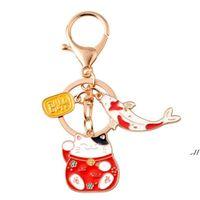 Japon anime chat chanceux chat fortune koinobori keychain keychain voiture chaîne de chaîne pour femmes sac pendentif cadeau dwa6331