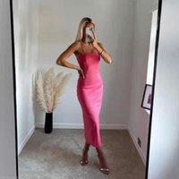 Casual Dresses XIKOM 2021 Summer Women Red Sexy Bandage Slim Long Dress Ladies Sleeveless Straps Evening Female Elegant