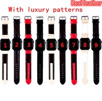 Designer di lusso Cinturino in pelle reale per cinturino per orologio apple 38mm 40mm 42mm 44mm bande Iwatch di 44 mm a trendy Sostituzione del braccialetto Bracciale Bracciale Bracciale Strisce di moda Pattern