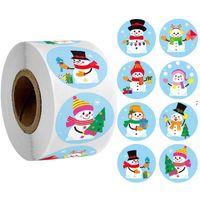 10 estilos Etiqueta de Natal adesivo de selagem redondo Feliz Natal adesivo envelope cartão caixa de presente OWE8720