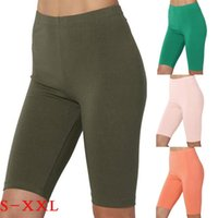 Women's Leggings Woman Pants Sport Yoga Solid Mid Thigh Stretch Cotton Span High Waist Active Short Spodnie Damskie Fashion