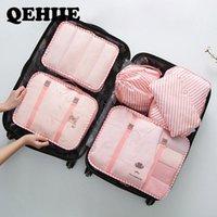 Sacs Duffel Voyage Organisateur Vêtements 6pcs / Set Lingerie Organisateur Organisateur Emballage Cube Sac en nylon imperméable Nylon Accessoires Qehiie