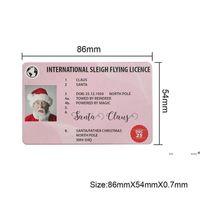 Christmas Gift Santa Greeting Cards 86*54mm Santa Claus Funny Driver's License Card FWE9630