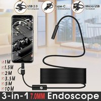 Cameras TYPE C USB Mini 7mm 1M 3.5M 5M Flexible Hard Cable Snake Borescope Inspection For Android Smartphone PC