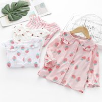 Shirts Girls Clothes Long Sleeve For Blouse Cute Cartoon Fruit Print Bottom Casual Tops Sweet Single Breast