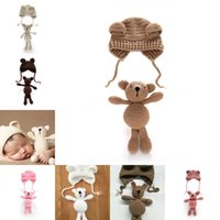 little Bear hat and doll Photo Props newborn photography baby crochet clothes boy accessories girl outfit 1225 Y2