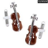 الجدة معدات الموسيقى الكفة روابط براون الكمان أزرار أكمام للرجال الفاخرة مع هدية مربع