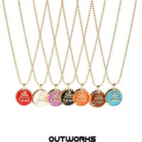 Chains Ins Personality Copper Drip Oil Creative Fashion Colorful Cola Cover Gold Bead Chain Necklace For Women Men Girls Jewelry