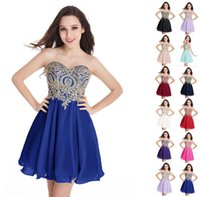 Party Dresses SALE Royal Blue Coctail Backless Short Sexy Sweet Heart Neck Gold Lace Appliques A-Line Mini Skirt Robe De Cocktail