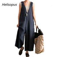 Helisopus Geniş Bacak Pantolon Kadınlar Vintage Önlüğü Tulum Kolsuz Strappy Katı Rahat Gevşek Tulumlar Artı Boyutu Kadın Tulum
