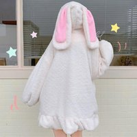 Women's Hoodies & Sweatshirts Clothing Winter 2022 Kawaii Ears Hooded Coats Japanese Korean Girl Warm Sweet Soft Lambswool Zip