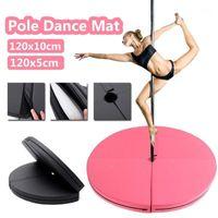 120x10см PU PU POLE Dance Mat Skid-Proof Fitness Yoga Mats Водонепроницаемые утолщенные круглые упражнения складной безопасность тренажерный зал1