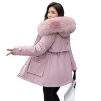 2021 Новая зимняя куртка теплый меховой воротник толстый пальто моды длинный с капюшоном Parkas женская куртка одежда женская снежная одежда пальто G0913
