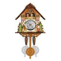 Wall Clocks Practical Artistic Creative European Style Round Colorful Rustic Decorative Antique Wooden Home Clock