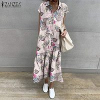 Casual Dresses ZANZEA Vintage Women Summer Sundress Lapel Neck Short Sleeve Kaftan Vestidos Floral Long Shirt Dress Loose Party Femme