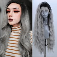 Long Ombre Grey Lace Front Wigs With Dark Roots Heat Resistant Body Wave Synthetic Wig Simulation Human Hair Cosplay