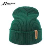 Dad Cap Crochet Autumn Winter Women Men Unisex Knitted Skuill Beani Caps Hats Solid Green Black White Balaclava Beani Hat