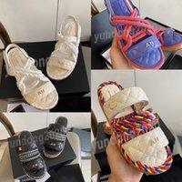 Sandálias tecidas clássicas de Twine, chinelos de senhora casual com design de fivela de velcro, preto e branco caixa de sapato simples 35-40