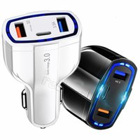 3 ports 7A 35W USB-C Car Charger fast Charging type C QC 3.0 PD Auto Power Adapter With Retail box For Iphone 7 8 11 12 Samsung htc gps
