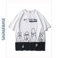 높은 품질의 남성용 착용 국립 패션 ins 개인화 된 만화 인쇄 티셔츠 여름 컬러 일치하는 여름 짧은 소매 옷