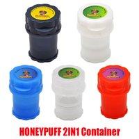 Honeypuff 2 in 1 Container 3 부품 4 층 전자 담배 플라스틱 그라인더 허브 그라인더 보안 담배 흡연 초본 핸드 뮬러