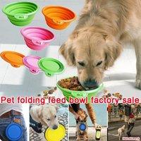Multicolore Silicone Pet ciotola pieghevole pieghevole ciotole di cane ciotole caramelle colore viaggio all'aperto portatile cucciolo doogie cibo contenitore alimentatore piatto DHL