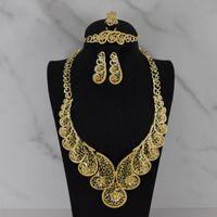 African Nigerian Bracelet Ring Pendant Fashion Jewelry Charm Necklace Earrings Dubai Gold Sets For Women Wedding Bridal &