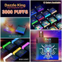 100% Orijinal Randm Dazzle Kral Tek Kullanımlık E Sigara Vapes 3000 Puffs Elektronik Sigaralar 8.0 ml Pod Glow karanlık LGB Işık 12 Renkler Bar Pro Anahtarı