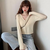 Women's Knits & Tees Spring Ly Solid Color Women Cardigans Fashion Slim Ladies Knitted Sweater Long Sleeve Buttons Tops