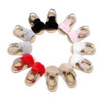 여름 아기 샌들 귀여운 모피 유아 첫 번째 워커 소년 소녀 prewalkers 신발 아파트