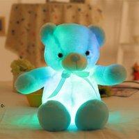 New30cm 50cm 나비 넥타이 테디 베어 곰 빛나는 곰 인형 LED 다채로운 빛 빛나는 기능 발렌타인 데이 선물 봉제 장난감 RRF8354