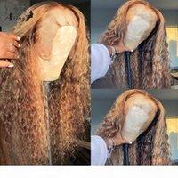 Кудрявые сброшенные 13x4 кружева передние человеческие волосы парики волос HD прозрачная фронтальная водная волна парик омбре медовая блондинка цветная выделенная реми