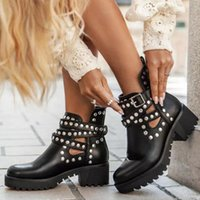 Boots Women Ankle Mid Heels Matin Shoes Booties Warm Punk Rivets Woman Shoe Chaussures Femme Zapatos Mujer Sapato NH388