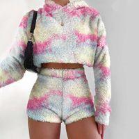 Women's Sweaters Autumn Winter Fluffy 2pcs Sets Women Sexy Plush Hooded Sweatshirt Crop Tops+high Waist Shorts Casual Tie Dye Tracksuit Suits L9OP